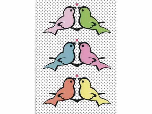 Petra Boase Birds in a Row Romantic Greetings Card