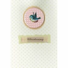 Petra Boase Christening Card - Blue Bird Badge on Front