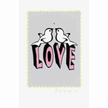 Petra Boase Love Bird Print Grey A4