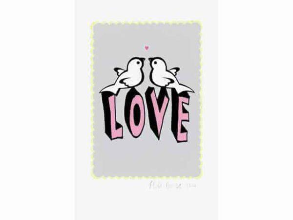 Petra Boase Love Bird Print Grey A4
