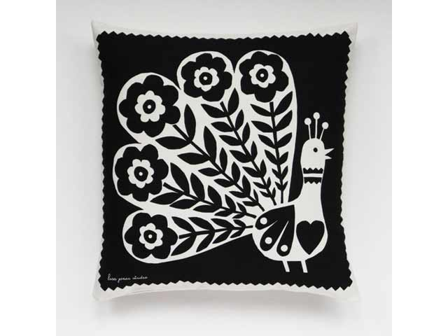 Lisa Jones Studio Pablo Peacock Black and White Cushion 45cm Square