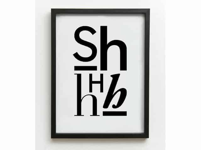 £24 99 · one must dash shhhhh typographic print a3