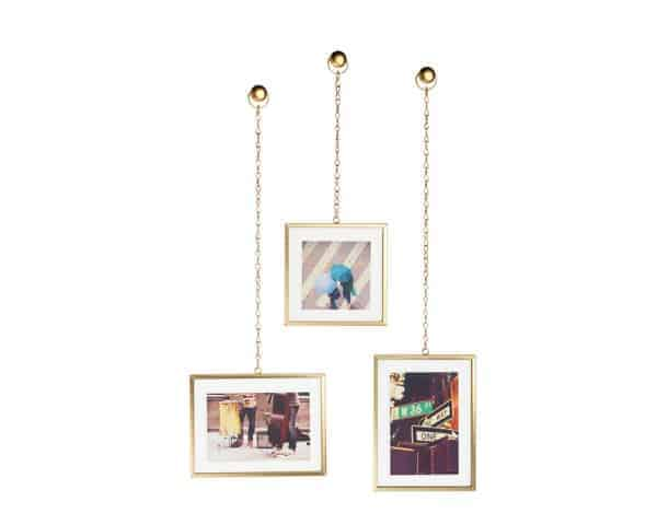 Umbra Fotochain Brass Photo Frames Display of 3