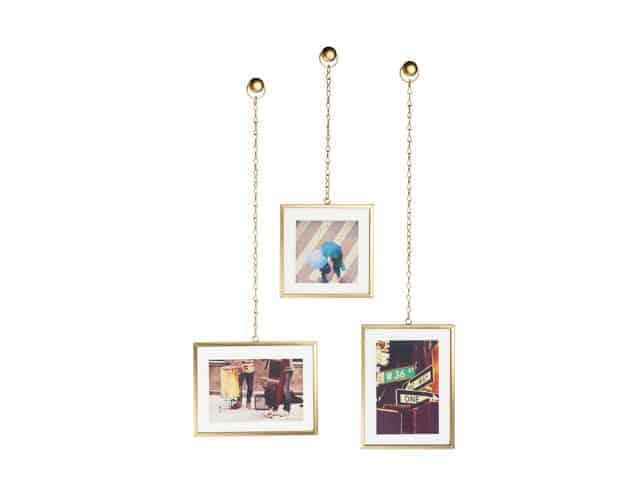 Umbra Fotochain Brass Photo Frames Display of 3