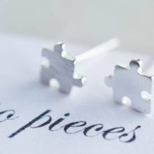 Love You to Pieces Silver Jigsaw Puzzle Earrings