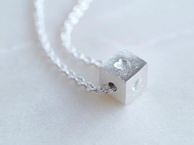 Tiny Building Block Heart Necklace