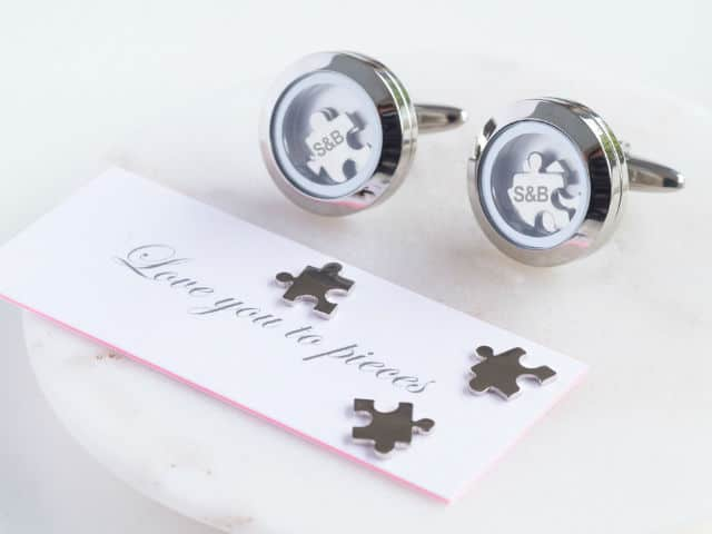 Love You to Pieces Jigsaw Piece Cufflinks