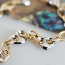 Mixed White and Yellow Gold Heart Bracelet
