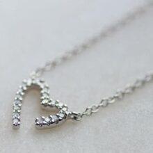 Modern White Gold Diamond Heart Necklace