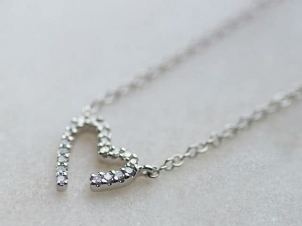 Modern White Gold Diamond Heart Necklace