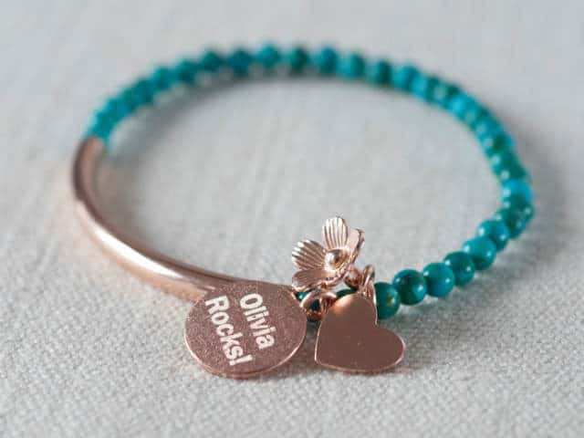Chinese Turquoise And Rose Gold Personalised Pendant Bracelet