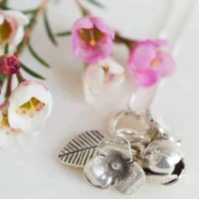 Flower Bouquet Sterling Silver Necklace