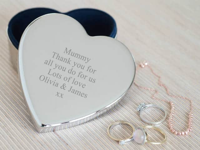 Silver Plated Heart Trinket Box