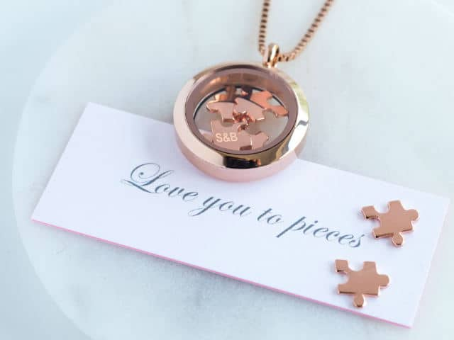 Love You To Pieces Jigsaw Rose Gold Necklace