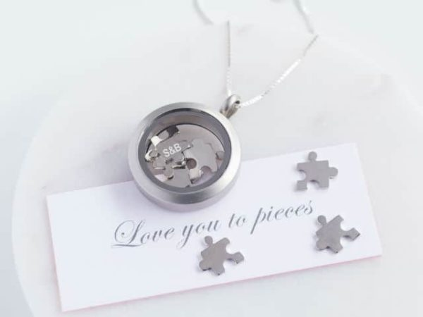 Love You To Pieces Jigsaw Silver Necklace
