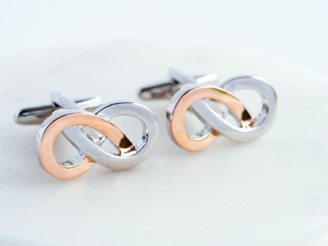 Rose Gold & Silver Infinity Cufflinks