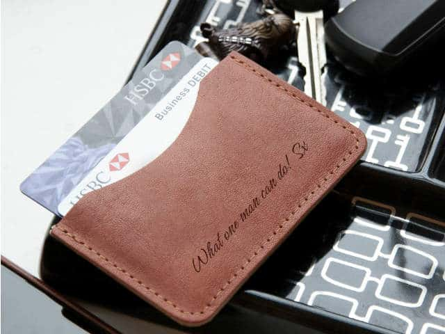 Leather Personalised Single Pocket Slim Wallet
