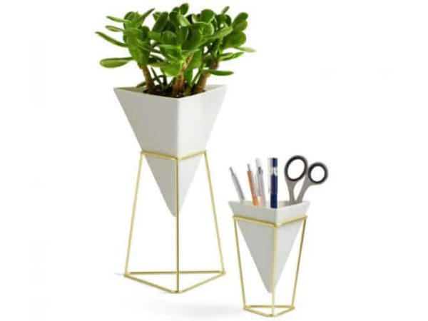 Umbra Trigg Tabletop Vases White and Brass