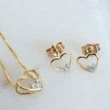Gold Diamond Heart Necklace and Earrings Set