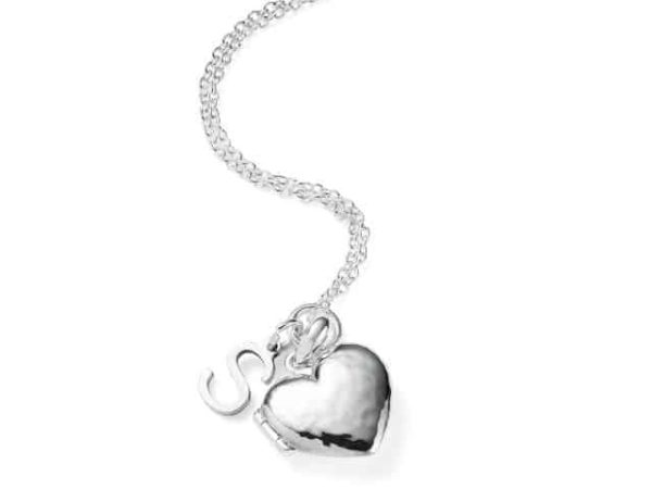 Hammered Heart Locket With Initial