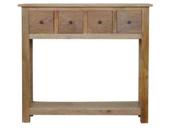 Solid Wood 4 Drawer Console Table