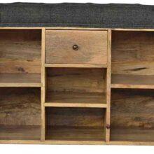 Wooden 6 Slot Black Tweed Shoe Storage Bench