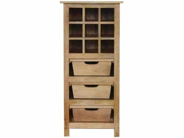 Wooden Wine Cabinet 9 Bottle Slots 3 Drawers