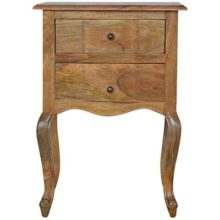 Wood 2 Drawer French Style Bedside Table