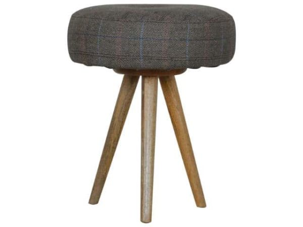 Tweed Upholstered Cushioned Tripod Stool