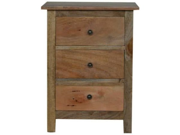 Country Style 3 Drawer Bedside Table