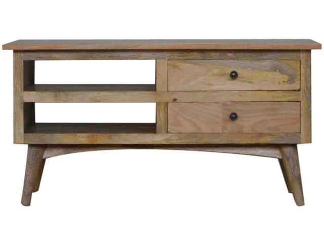Solid Wooden TV Stand 2 Drawers and Shelf