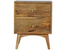 Hand-Crafted Wooden Name-Slot Handles Nordic 2 Drawer Bedside Table