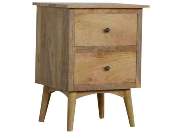 Solid Wood 2 Drawer Bedside Table