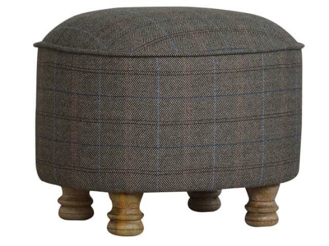 Multi Tweed Oval Footstool