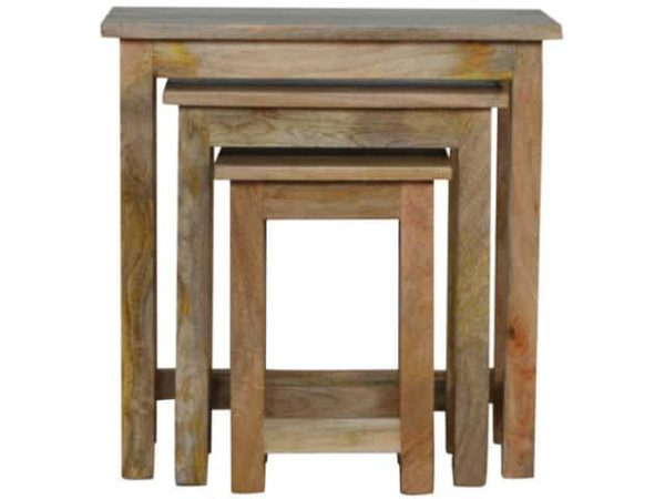 Country Style Wooden Stool Set Of 3