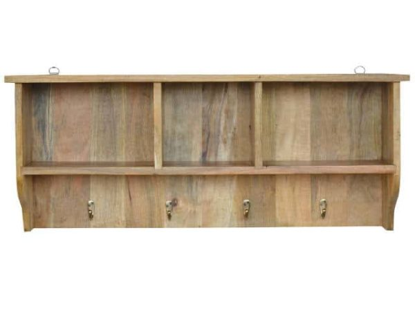Wooden Mounted Coat Rack and Shelves