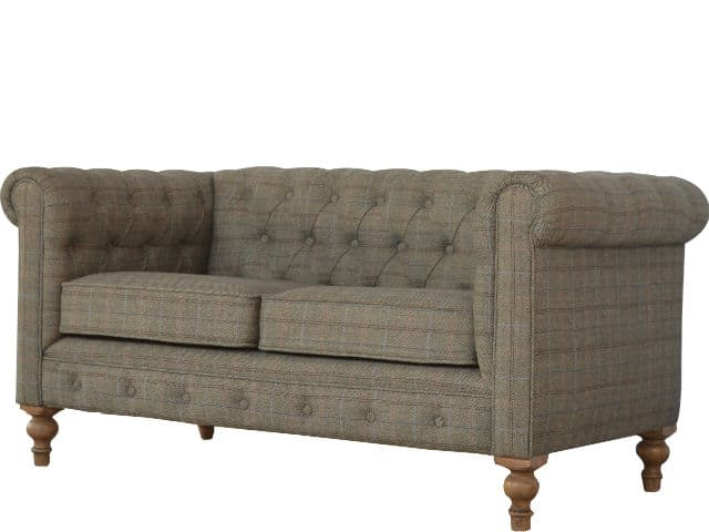 Multi Tweed Two Seater Chesterfield Sofa