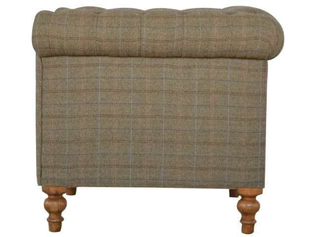 Multi Tweed Two Seater Chesterfield Sofa Hand Crafted Solid Furniture