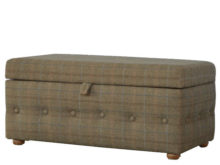 Button Detail Upholstered Multi Tweed Storage Footstool