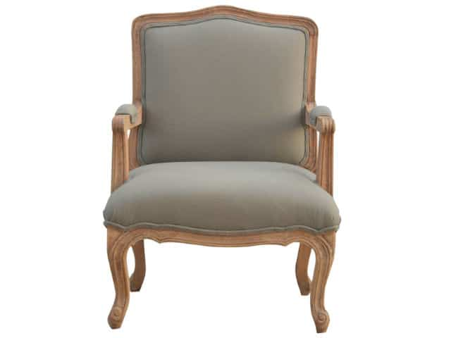 French Styled Linen Upholstered Armchair
