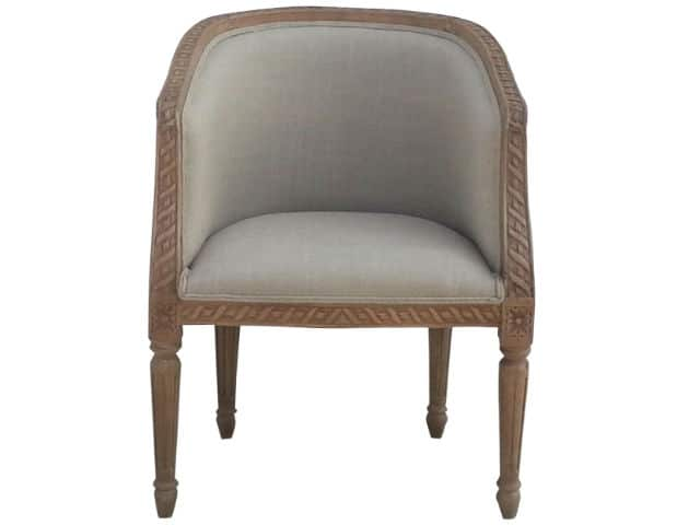 Upholstered French Style Carved Tub Chair
