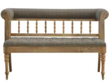 Solid Wood Multi Tweed Upholstered Hallway Bench With Casters