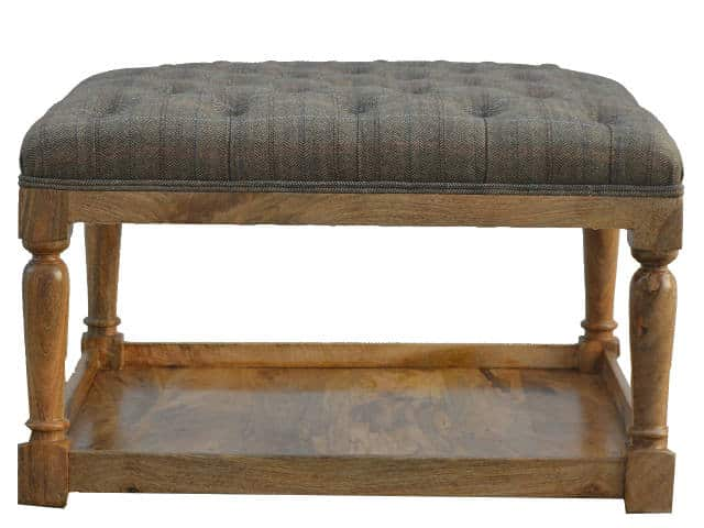 Multi Tweed Turned Leg Footstool With Shelf