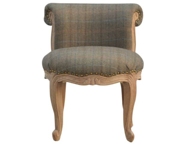 Upholstered Multi Tweed Petite French Chair