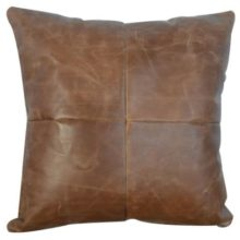 Buffalo Hide Leather Cushion 45cm Square