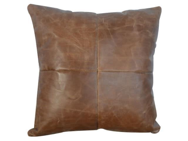 Buffalo Hide Leather Cushion 45cm Square