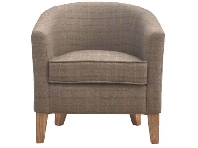 Upholstered French Style Tweed Tub Chair