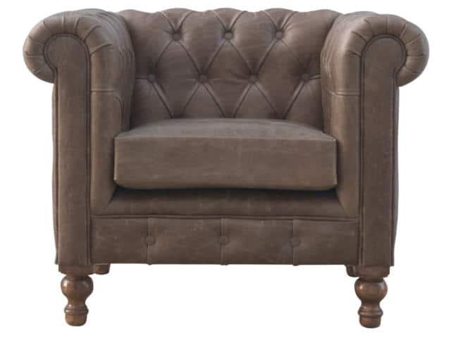 Chesterfield Buffalo Hide Leather Armchair