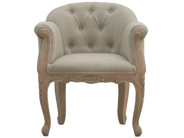 Mud Linen French Carved Accent Chair