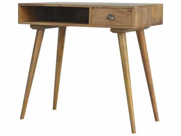 solid wood Nordic Style Writing Desk with an open slot and 2 drawers